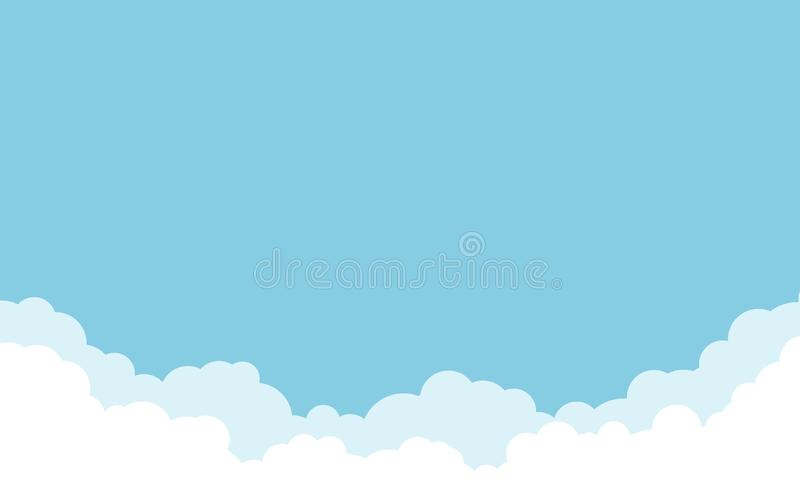 Голубое небо с белой предпосылкой облаков Дизайн стиля мультфильма плоский r иллюстрация штока