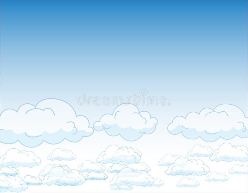 Голубое небо с облаками, vector безшовная текстура предпосылки иллюстрация штока