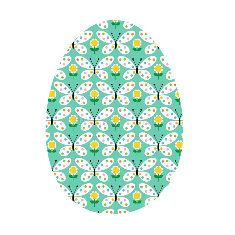 Голубое пасхальное яйцо с картиной бабочки бесплатная иллюстрация