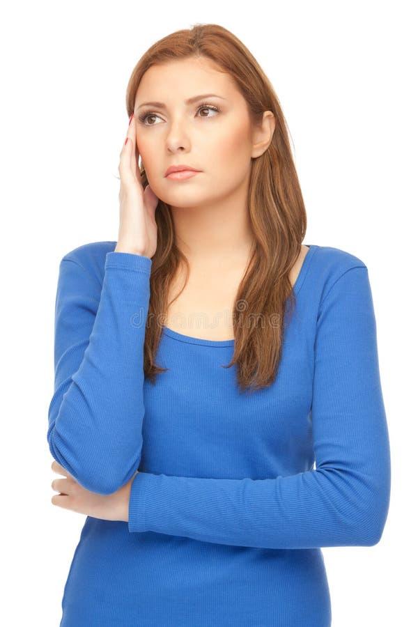 голубое платье отлично изолировало женщину стоковое фото