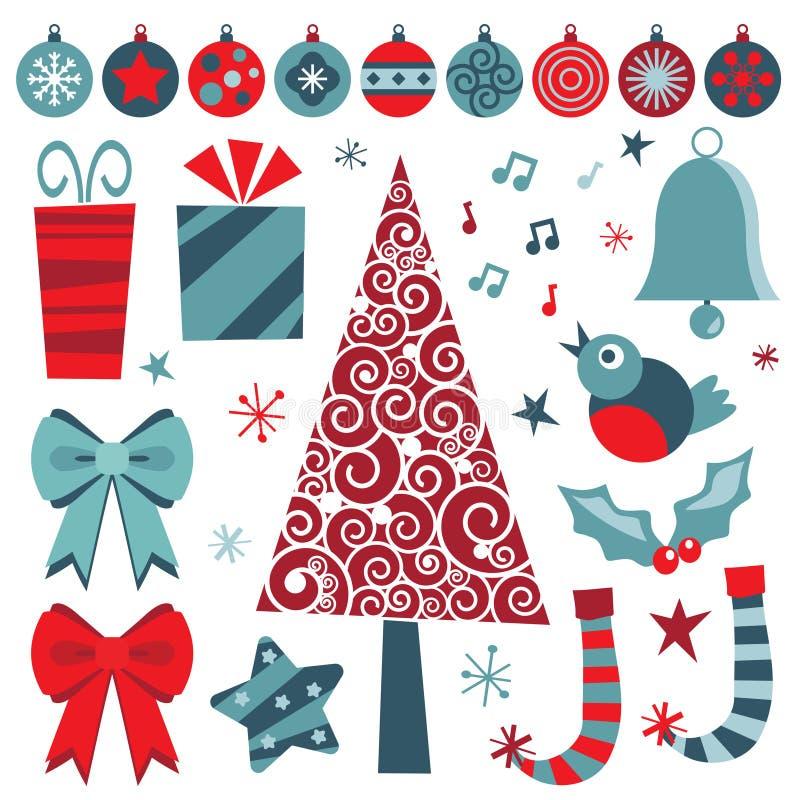 голубое рождество возражает красный цвет иллюстрация штока