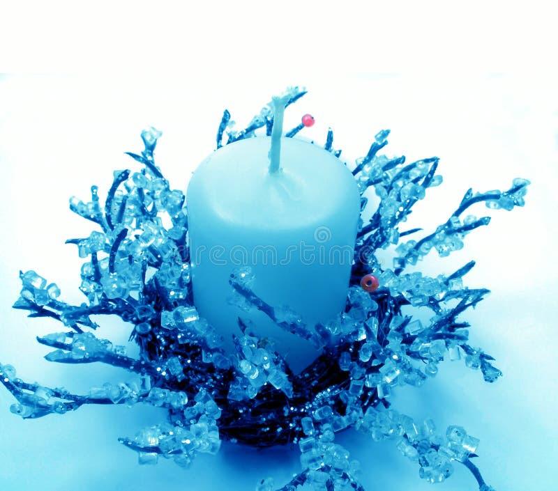 голубое рождество подсвечника стоковые фотографии rf