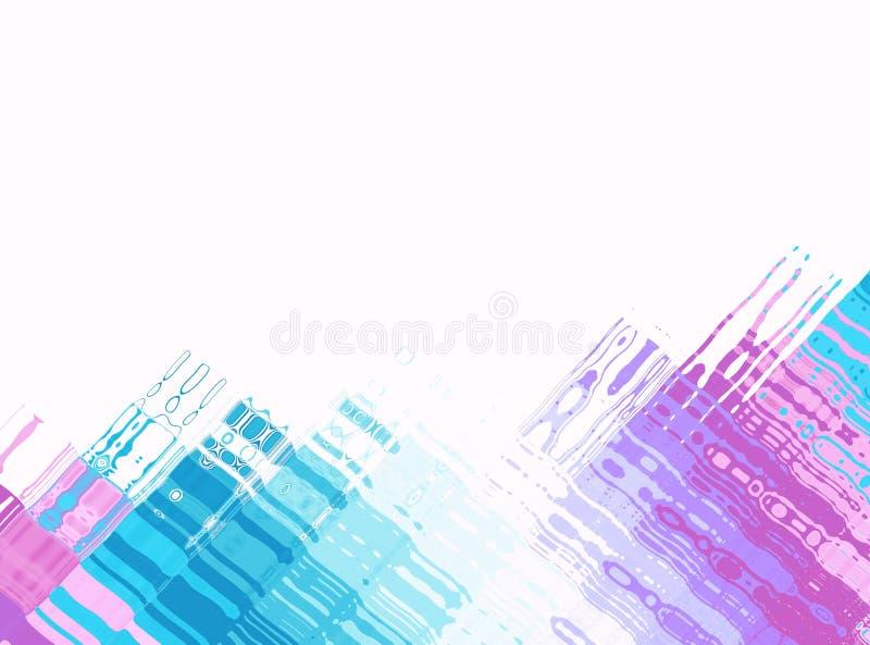 Голубое розовое белое современное абстрактное искусство фрактали Иллюстрация предпосылки с красочными перпендикулярными структура иллюстрация штока