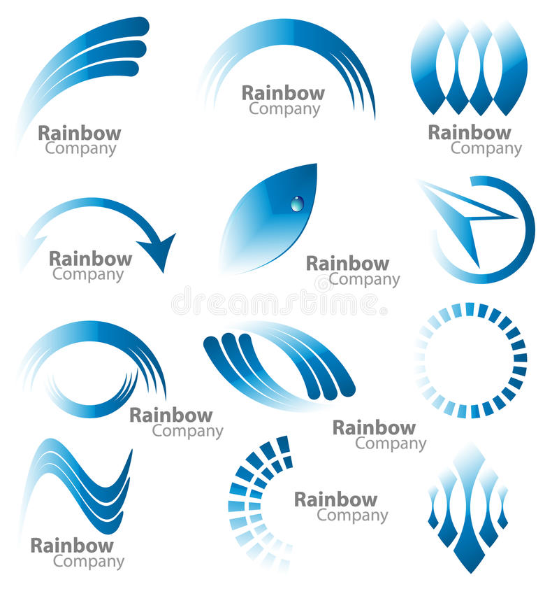 Голубое собрание логоса радуги иллюстрация штока