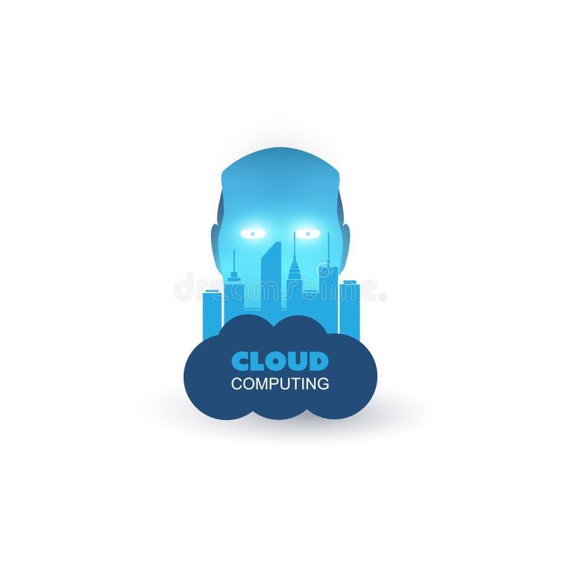 Голубое современное машинное обучение стиля, искусственный интеллект помогло умным центру Contol города и идее проекта сетей IoT иллюстрация вектора