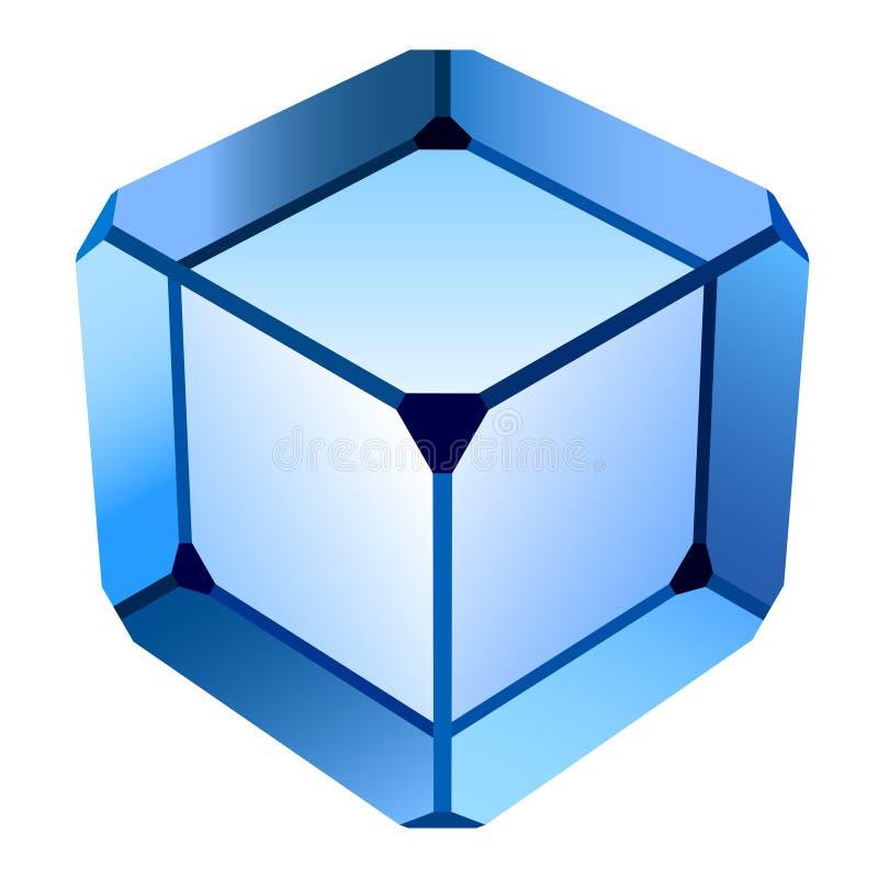 голубое стекло кубика иллюстрация вектора