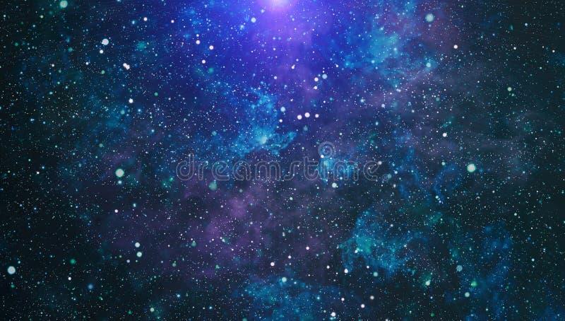 Голубое темное ночное небо с много звезд Млечный путь на предпосылке космоса иллюстрация штока