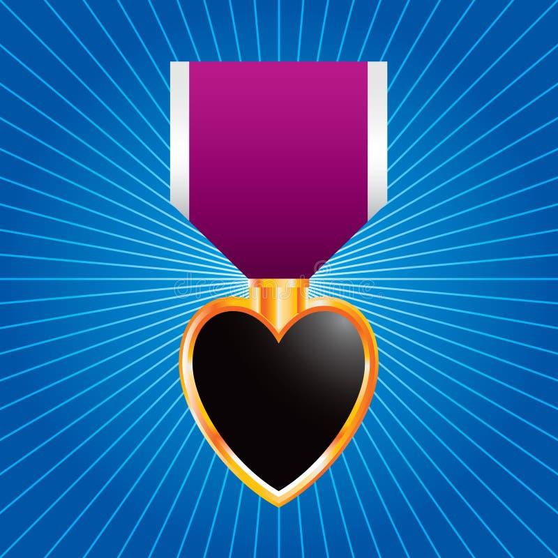 голубое starburst пурпура медали сердца бесплатная иллюстрация