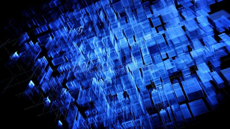 Голубой абстрактный футуристический лабиринт сжиманный из Кубы с кодом матрицы в космосе Технологическая предпосылка, концепция  иллюстрация вектора