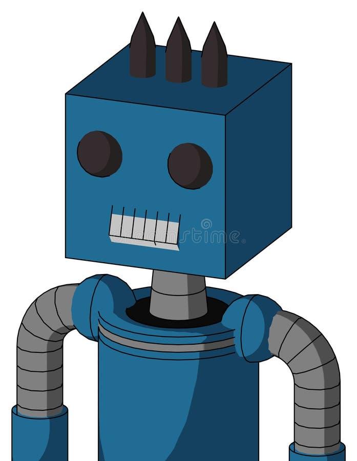 Голубой Автомат С Головою Коробки И Ртом, Два Глаза И Три Темных Духа иллюстрация вектора