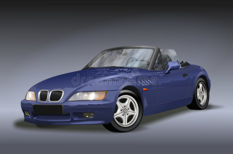 голубой автомобиль с откидным верхом иллюстрация вектора