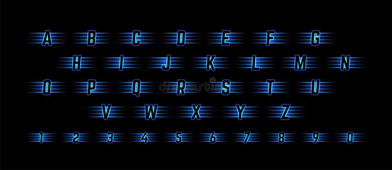 Голубой алфавит неонового света с номерами Сияющие символы для логотипов, значков, знамен конкуренции и плакатов бесплатная иллюстрация