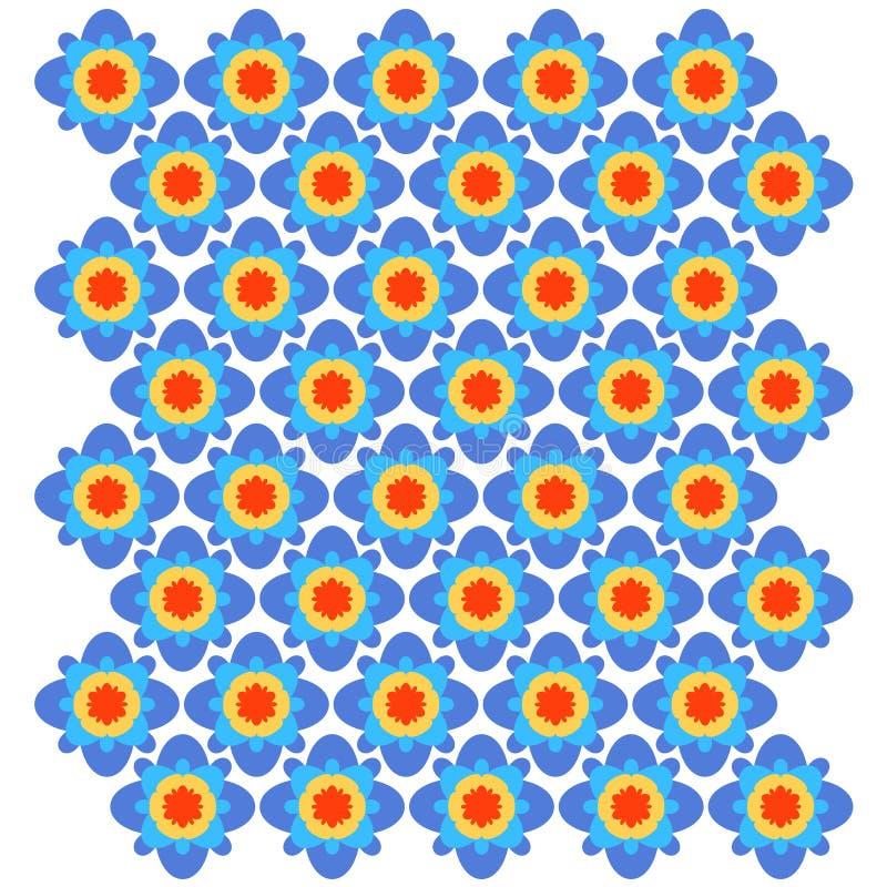 Голубой, апельсин, красный геометрический орнамент вектор картины безшовный иллюстрация штока
