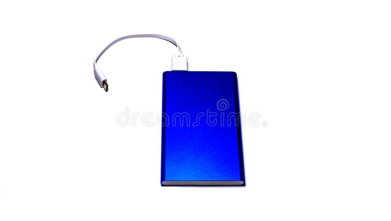 Голубой банк силы изолированный на белой предпосылке стоковое фото