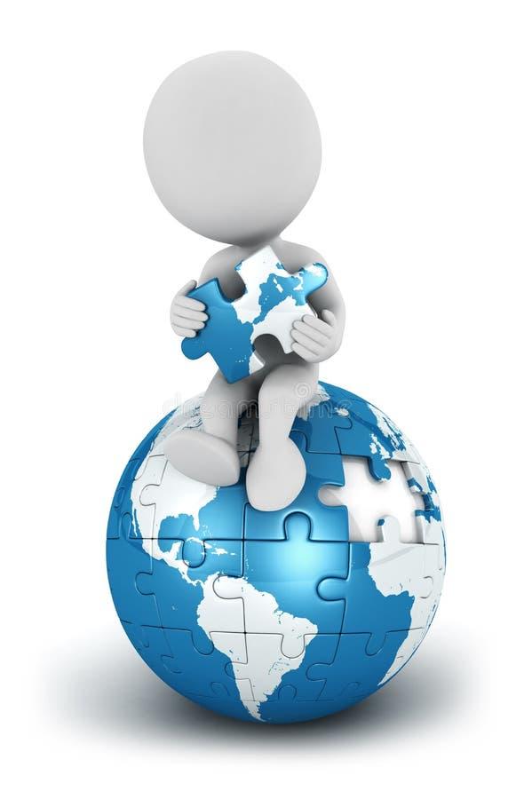 голубой белизна людей земли 3d усаженная головоломкой иллюстрация штока