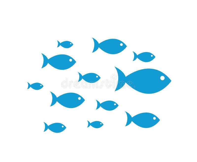 Голубой вектор значков рыб иллюстрация штока