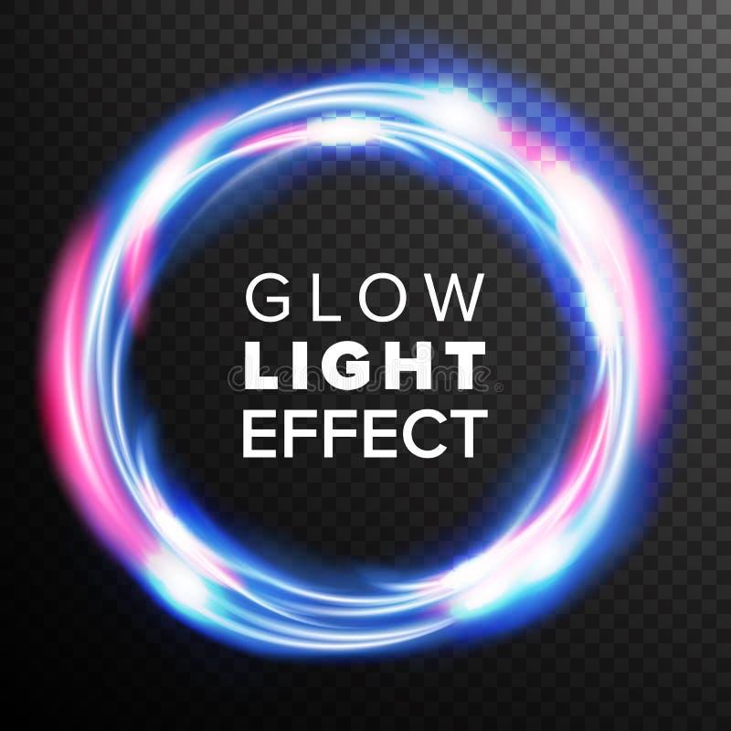 Голубой вектор светового эффекта зарева кругов Влияние следа свирли Штриховатости Рэй энергии Абстрактные пирофакелы объектива Эл иллюстрация штока