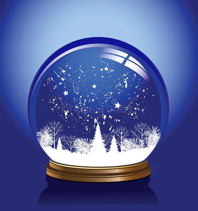 голубой вектор снежка глобуса иллюстрация вектора