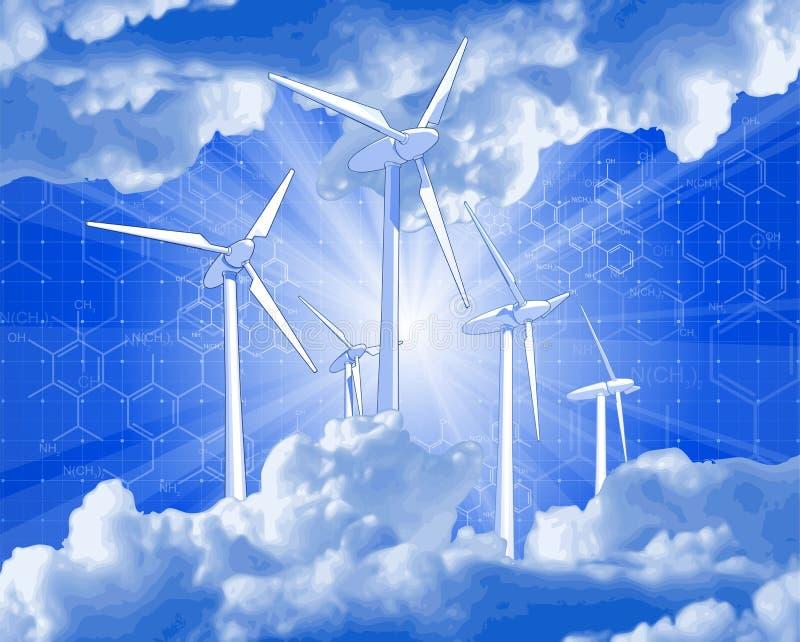 голубой ветер неба световых лучей управляемых генераторов иллюстрация штока
