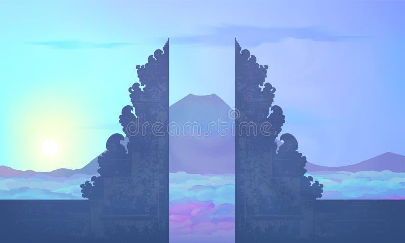 Голубой взгляд восхода солнца цветов к горе Agung от балийского виска Pura Lempuyang, иллюстрации вектора острова Бали иллюстрация штока