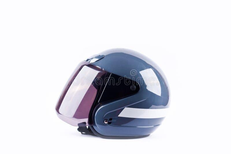 Голубой взгляд со стороны шлема мотоцикла на белом изолированном объекте безопасности шлема предпосылки стоковые фотографии rf