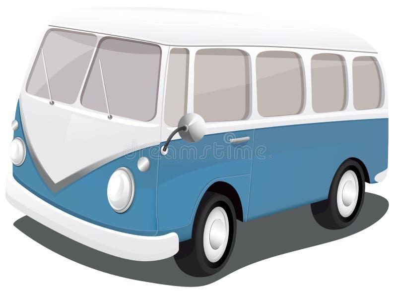 Голубой винтажный фургон иллюстрация вектора