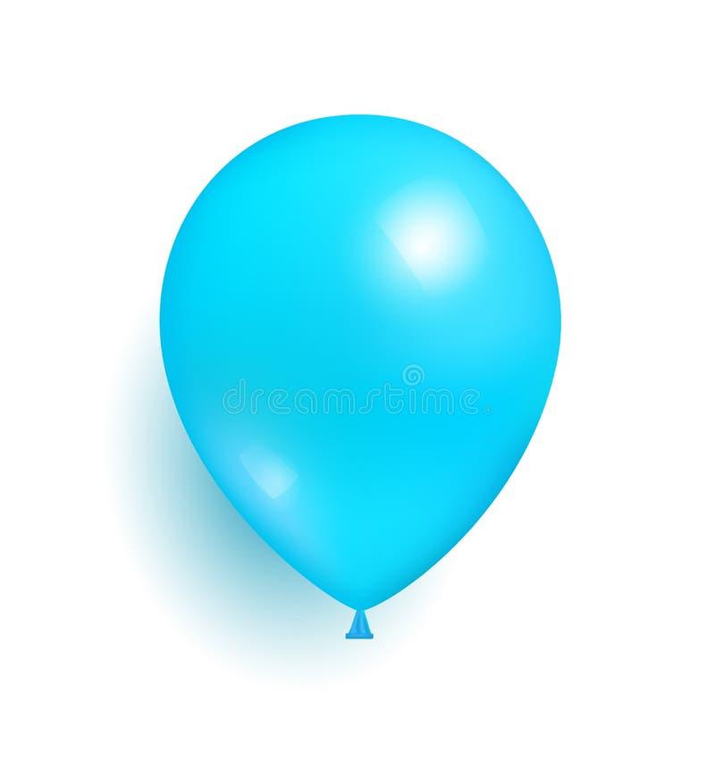 Голубой воздушный шар игрушки сделанный резинового реалистического вектора бесплатная иллюстрация