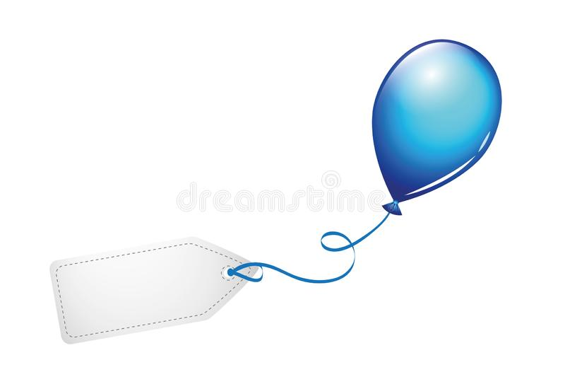 Голубой воздушный шар с пустым ярлыком иллюстрация вектора