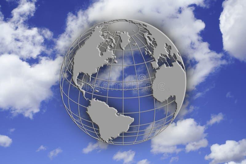 голубой глобус земли над небом стоковая фотография rf