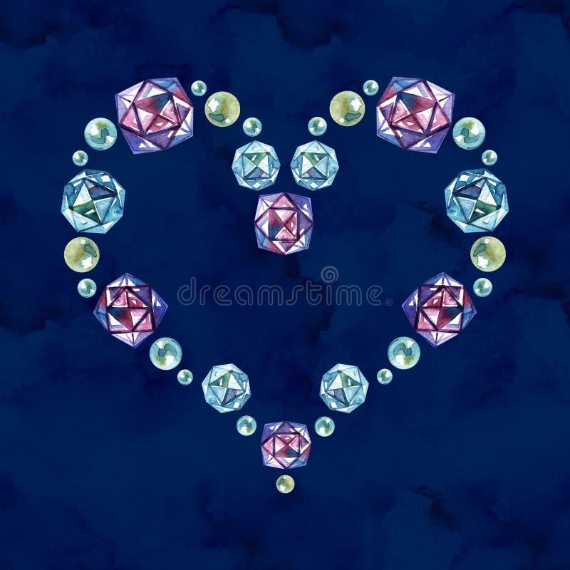 Голубой дизайн акварели диамантов Сохраните шаблон даты для свадьбы стоковые фото