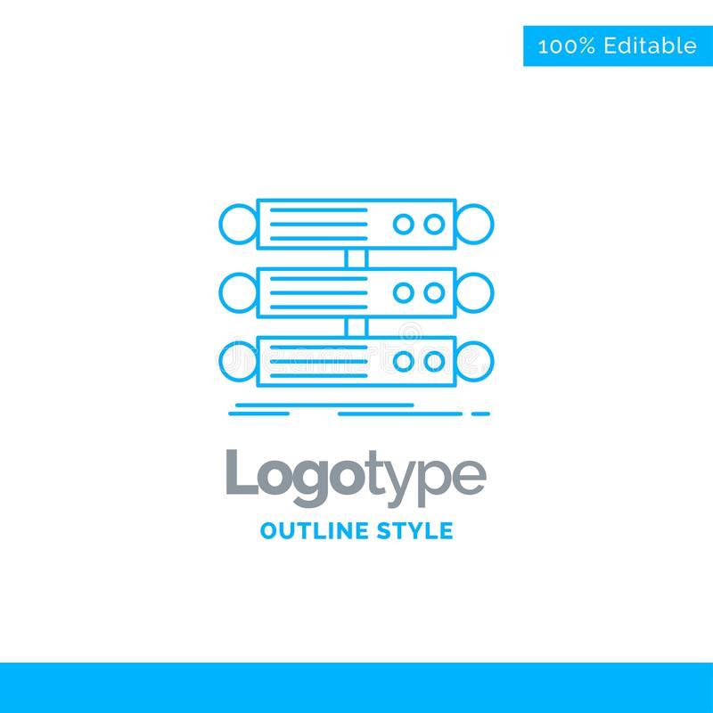Голубой дизайн логотипа для сервера, структуры, шкафа, базы данных, данных Бушель иллюстрация штока