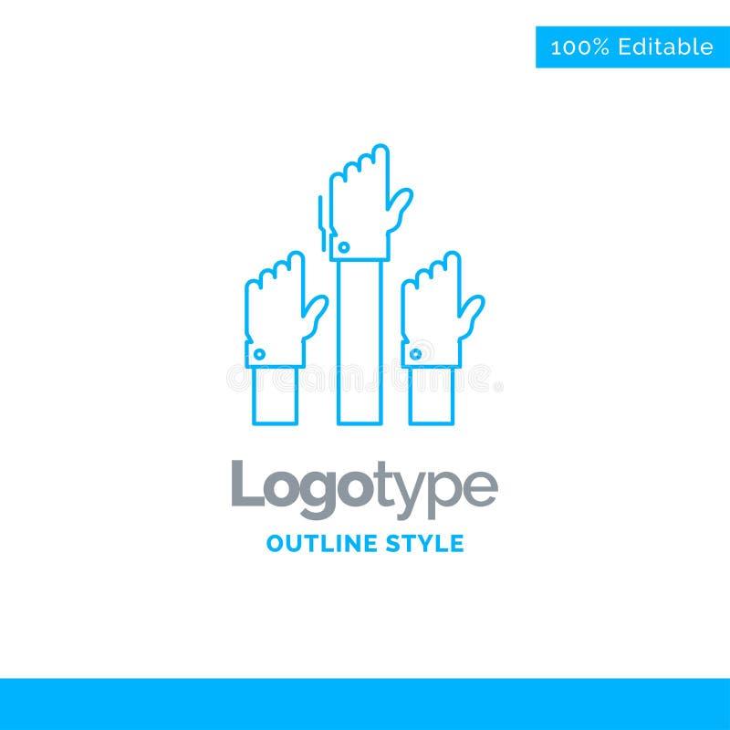 Голубой дизайн логотипа для устремленности, дела, желания, работника, int иллюстрация штока