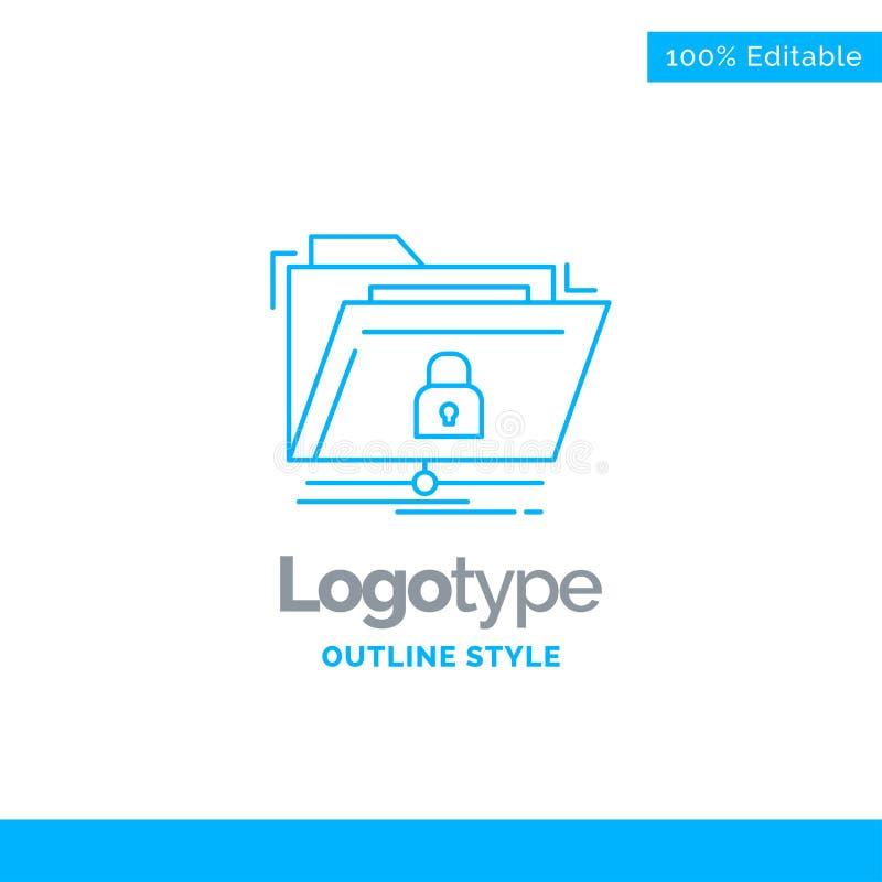 Голубой дизайн логотипа для шифрования, файлов, папки, сети, безопасной иллюстрация вектора