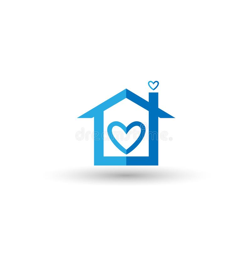 Голубой дом с символом сердца иллюстрация штока