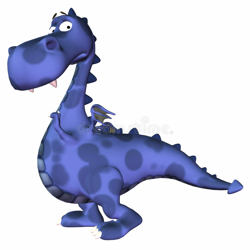 голубой дракон шаржа иллюстрация вектора