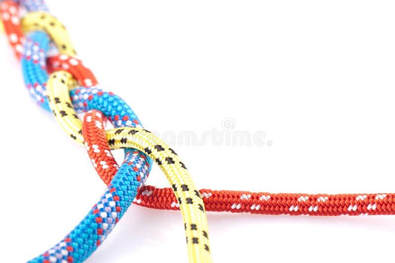 голубой желтый цвет красной веревочки оплетки стоковые изображения rf