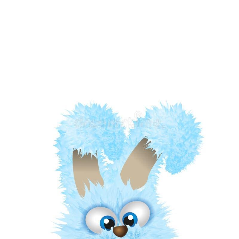 Голубой зайчик пасхи прячет внизу пушистый кролик любые могут размер потери изображения иллюстрации copyspace вычисленный по машт иллюстрация вектора