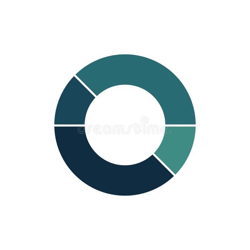 Голубой зеленый шаблон диаграммы круга infographic с 4 вариантами или шагами для представлений, рекламы, планов, годовых отчетов бесплатная иллюстрация