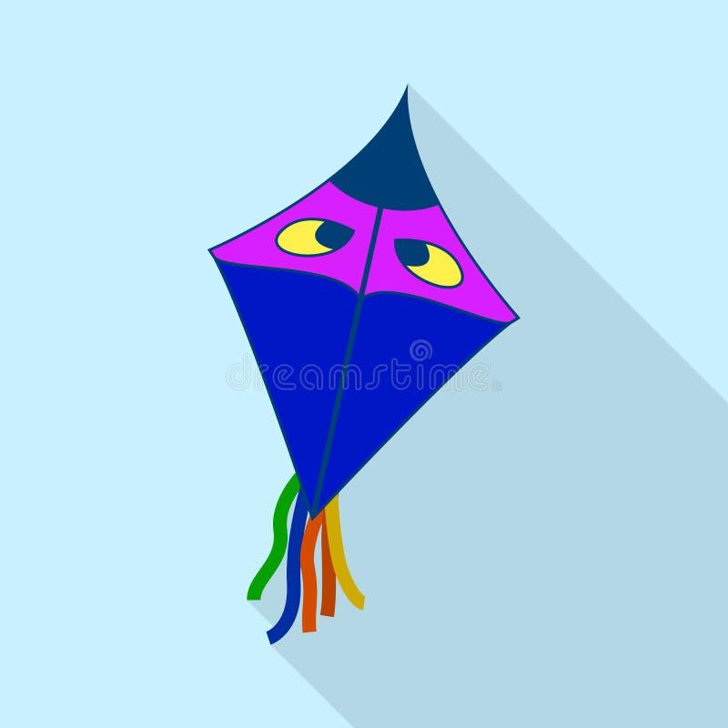 Голубой змей со значком глаз, плоским стилем иллюстрация вектора