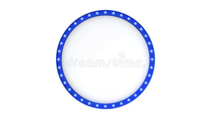 Голубой знак доски света шатёр ретро на белой предпосылке перевод 3d иллюстрация вектора