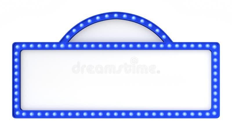 Голубой знак доски света шатёр ретро на белой предпосылке перевод 3d иллюстрация штока