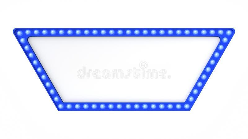 Голубой знак доски света шатёр ретро на белой предпосылке перевод 3d стоковая фотография rf