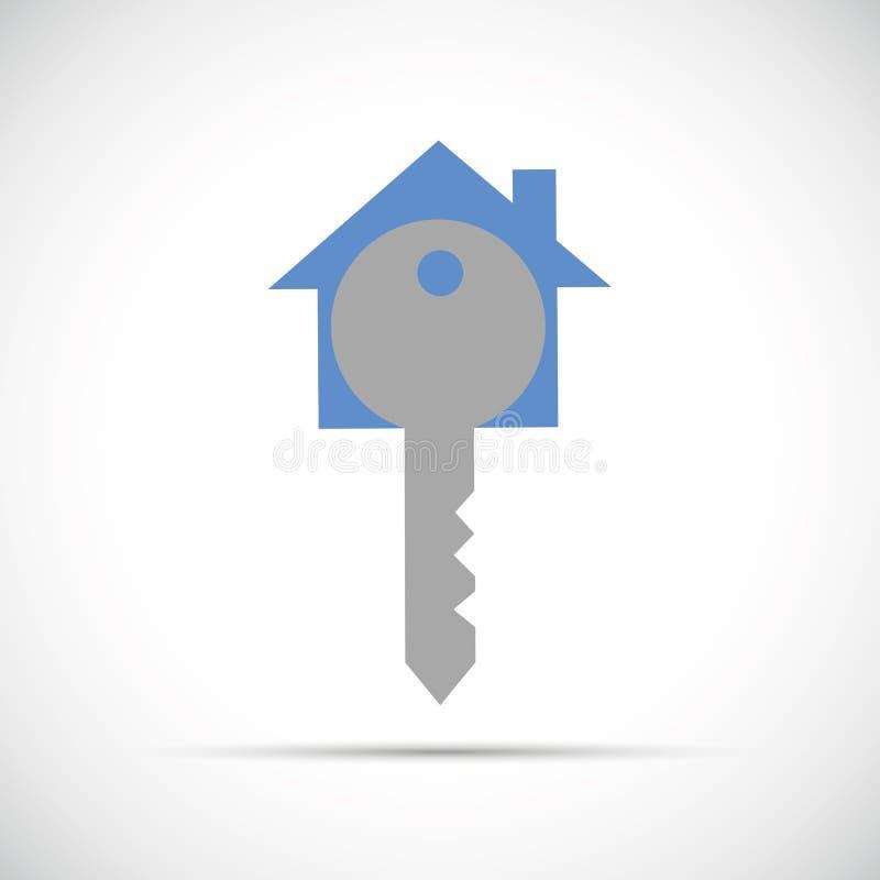 Голубой значок вектора ключа дома иллюстрация штока
