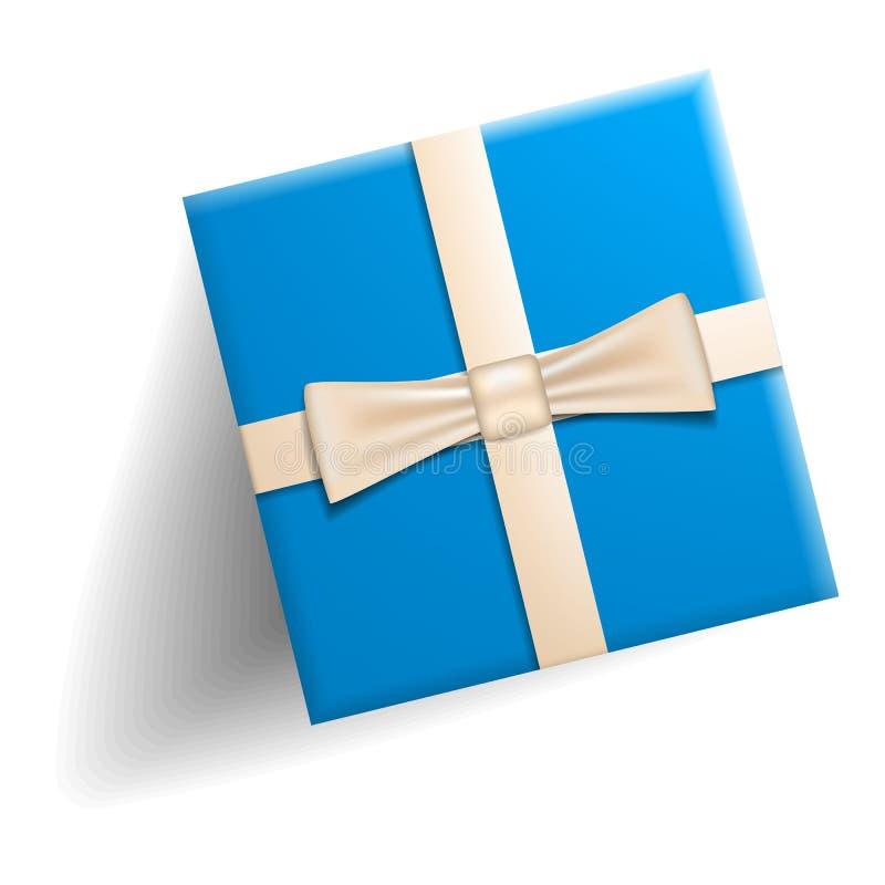 Голубой значок подарочной коробки, реалистический стиль иллюстрация штока