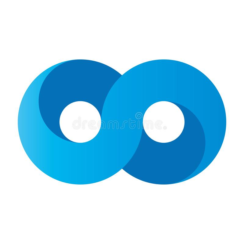 Голубой значок символа безграничности влияние дизайна градиента 3D-like r иллюстрация вектора