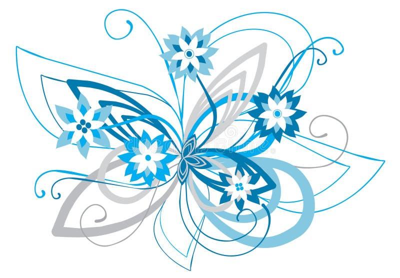 голубой изогнутый флористический орнамент стоковое изображение rf