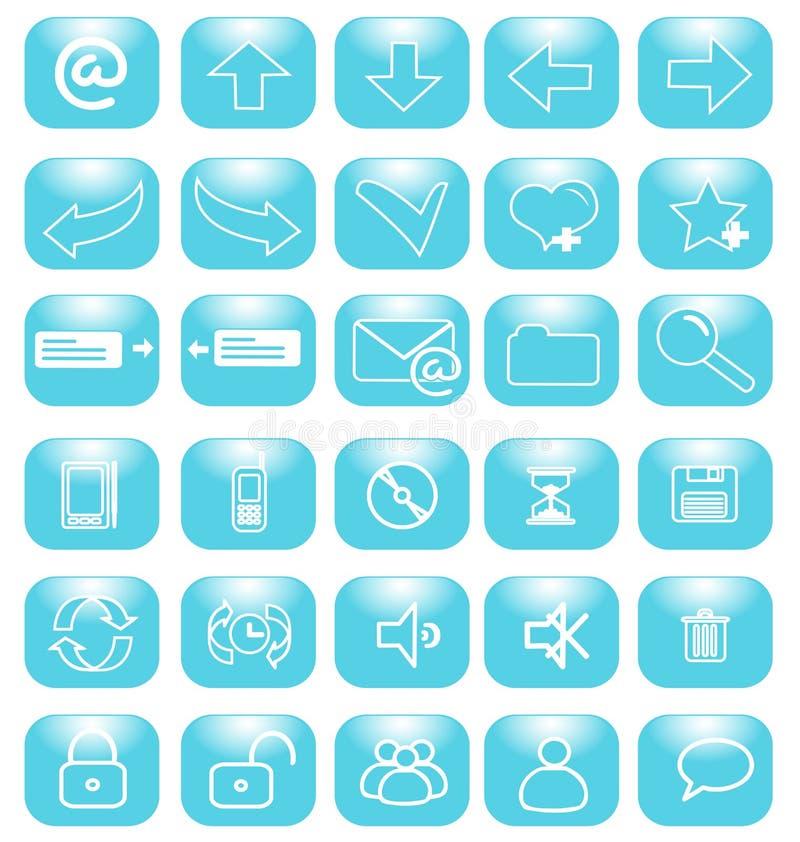 голубой интернет икон иллюстрация штока