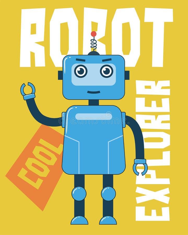 Голубой исследователь робота иллюстрация вектора