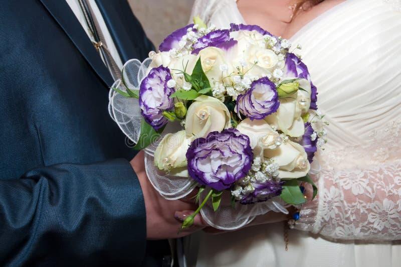 Голубой и белый букет венчания Стоковое Фото