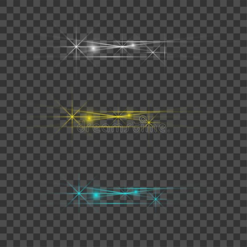 Голубой и желтый красивый свет взрывает с прозрачным взрывом Вектор, яркая иллюстрация для идеального влияния с иллюстрация вектора